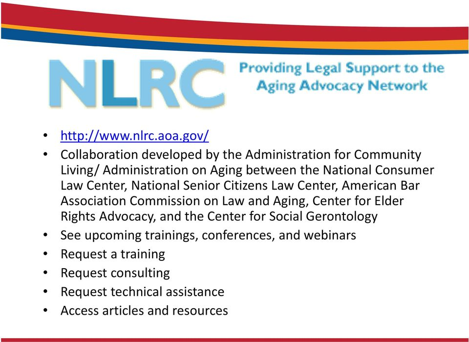 National Consumer Law Center, National Senior Citizens Law Center, American Bar Association Commission on Law and