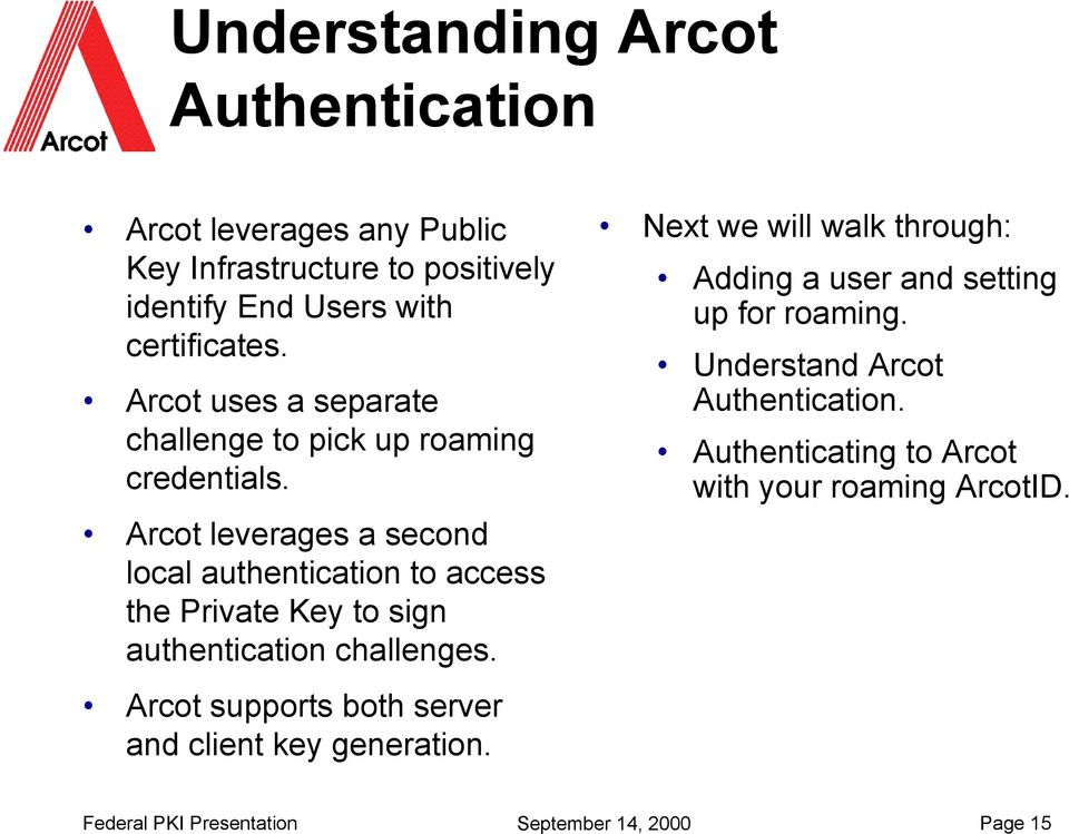 Arcot leverages a second local authentication to access the Private Key to sign authentication challenges.