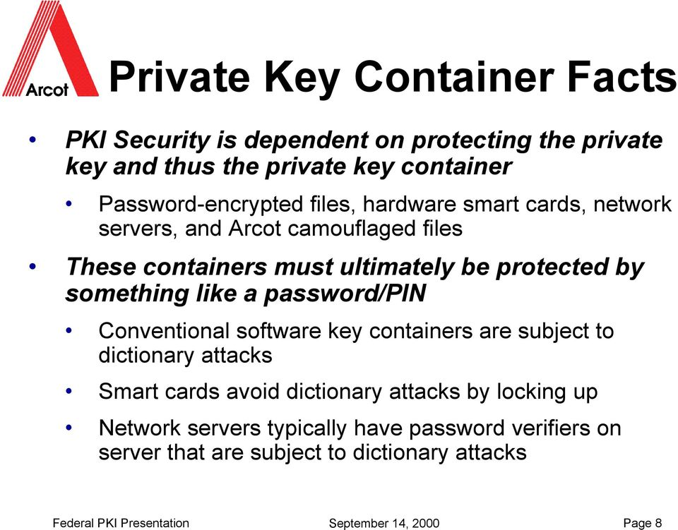 password/pin Conventional software key containers are subject to dictionary attacks Smart cards avoid dictionary attacks by locking up