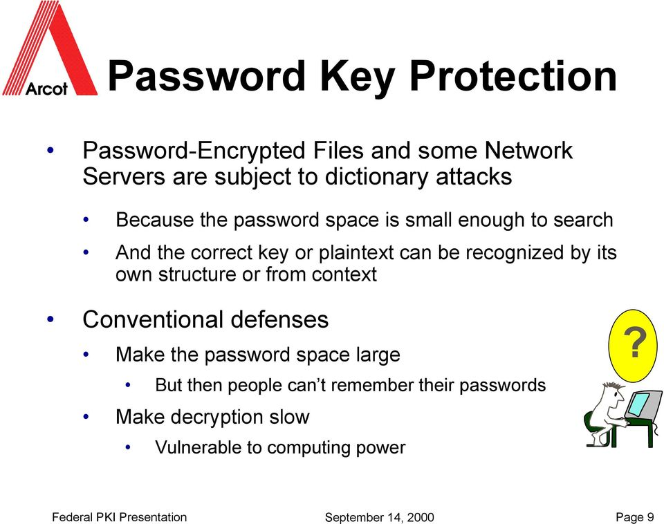 own structure or from context Conventional defenses Make the password space large But then people can t remember