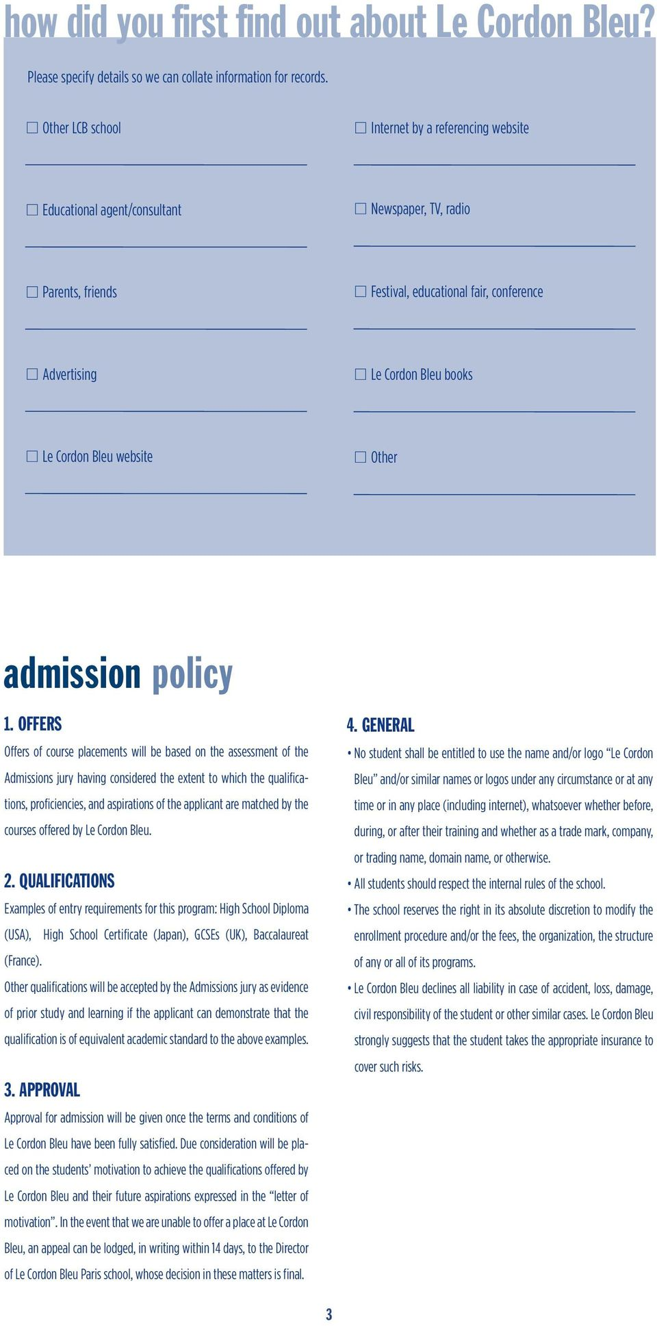 Bleu website Other admission policy 1.