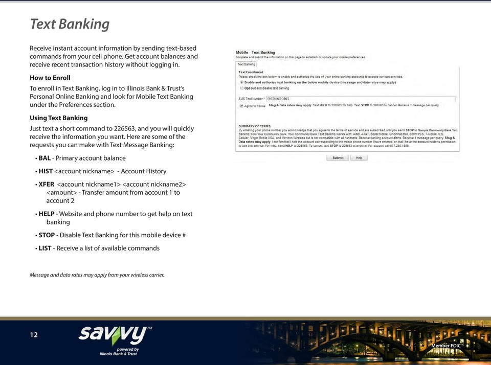 Using Text Banking Just text a short command to 226563, and you will quickly receive the information you want.