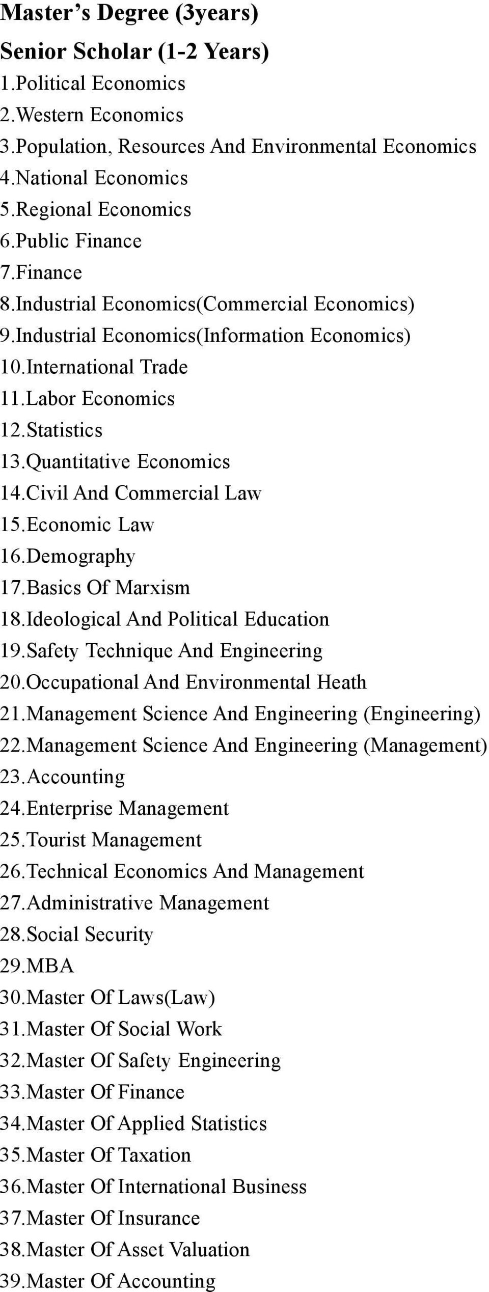 Quantitative Economics 14.Civil And Commercial Law 15.Economic Law 16.Demography 17.Basics Of Marxism 18.Ideological And Political Education 19.Safety Technique And Engineering 20.