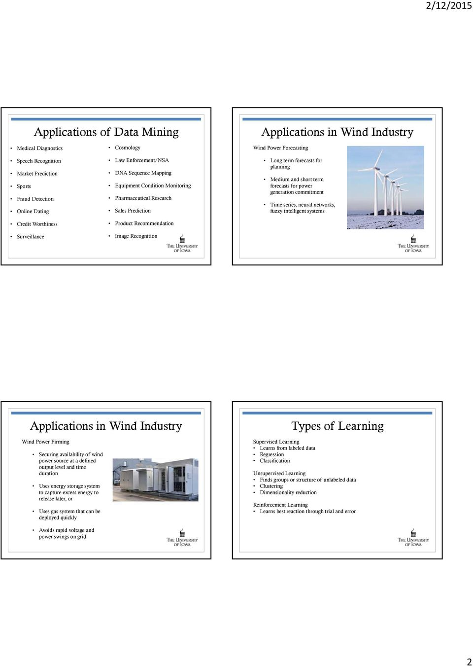 planning Medium and short term forecasts for power generation commitment Time series, neural networks, fuzzy intelligent systems Applications in Wind Industry Wind Power Firming Securing availability