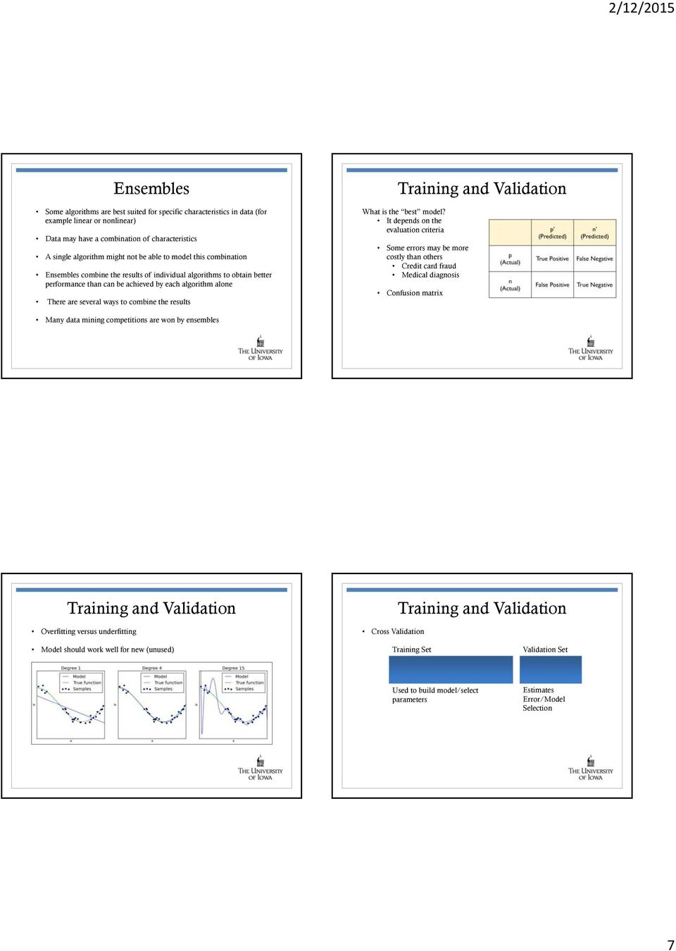 Training and Validation What is the best model?
