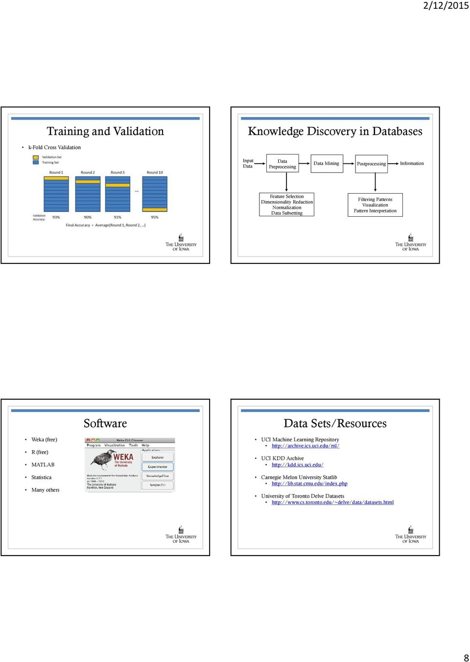 Sets/Resources Weka (free) R (free) MATLAB Statistica Many others UCI Machine Learning Repository http://archive.ics.uci.