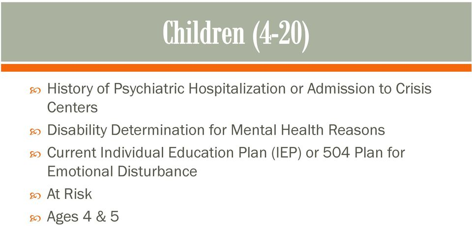 Health Reasons Current Individual Education Plan (IEP)