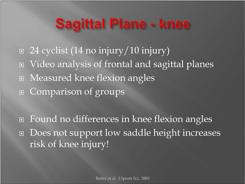 Found no differences in knee flexion angles Does not support low
