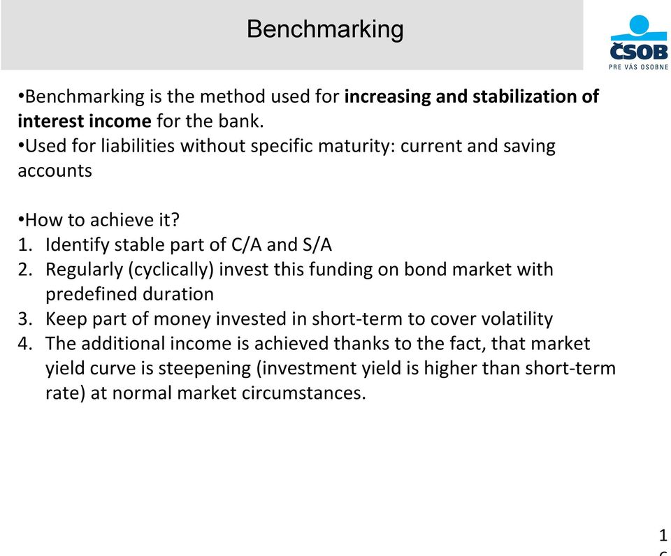 Regularly (cyclically) invest this funding on bond market with predefined duration 3.