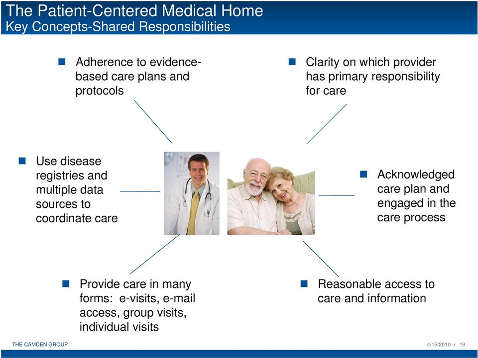 sources to coordinate care Acknowledged care plan and engaged in the care process Provide care in many forms: