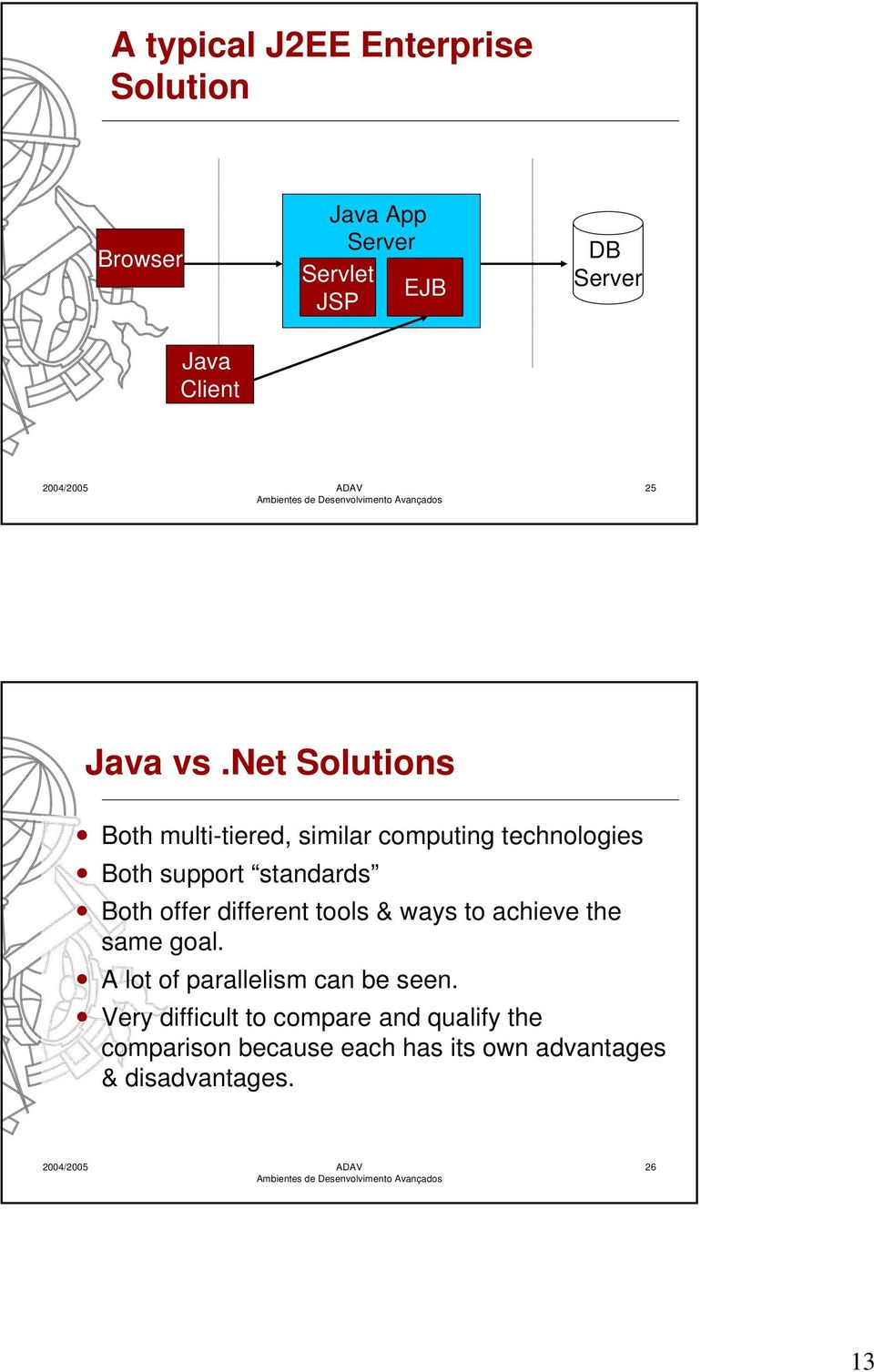 net Solutions Both multi-tiered, similar computing technologies Both support standards Both offer