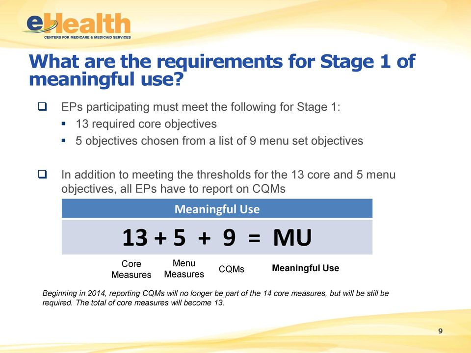 objectives In addition to meeting the thresholds for the 13 core and 5 menu objectives, all EPs have to report on CQMs Meaningful Use