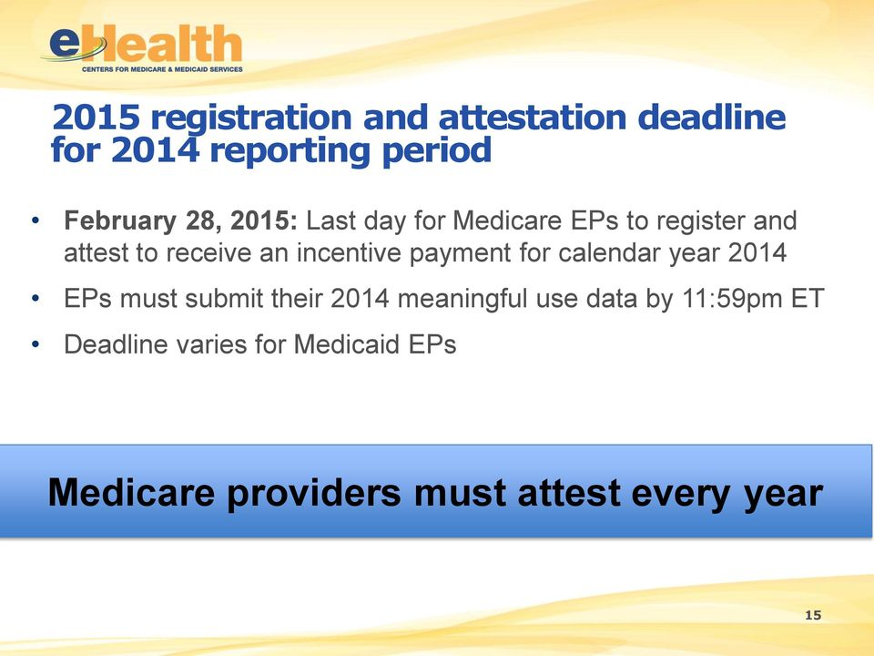 payment for calendar year 2014 EPs must submit their 2014 meaningful use data by