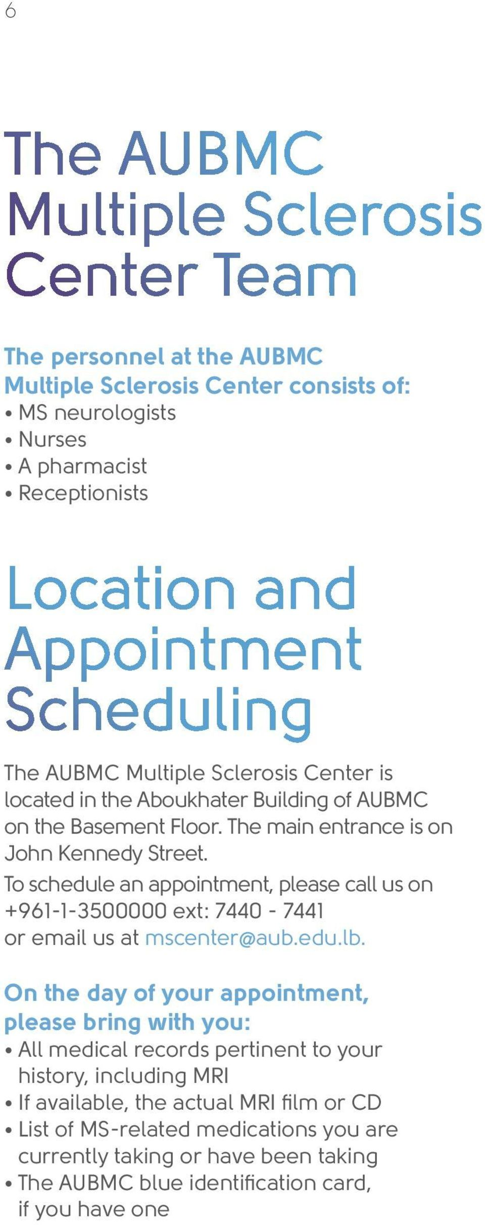 AUBMC Multiple Sclerosis Center - PDF
