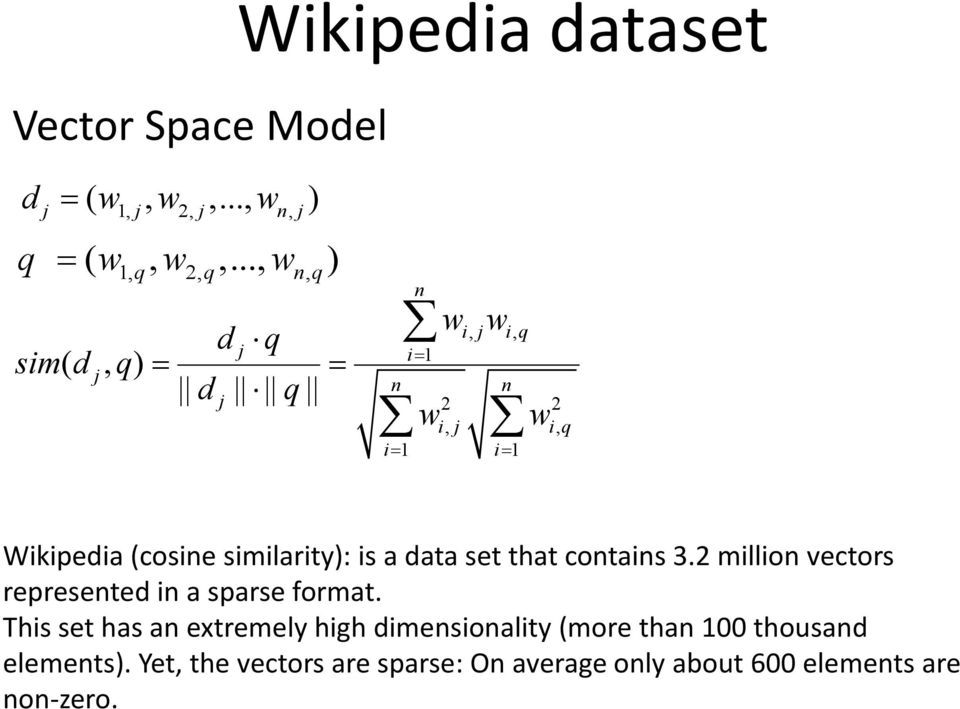 i 1 Wikipedia (cosine similarity): is a data set that contains 3.