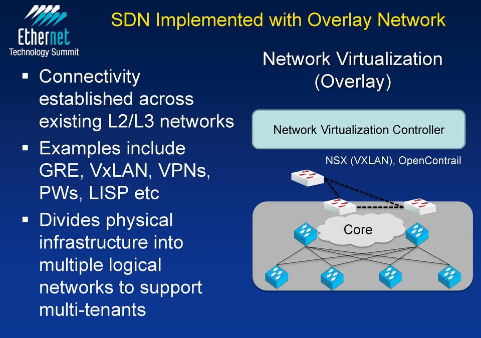 infrastructure into multiple logical networks to support multi-tenants Network