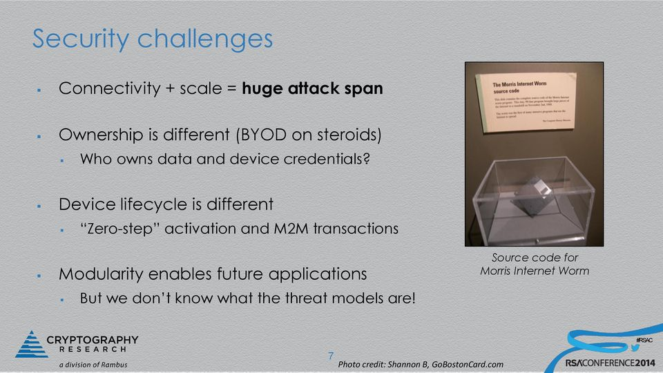 Device lifecycle is different Zero-step activation and M2M transactions Modularity enables
