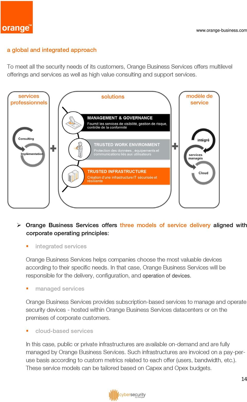Orange Business Services offers three models of service delivery aligned with corporate operating principles: integrated services Orange Business Services helps companies choose the most valuable