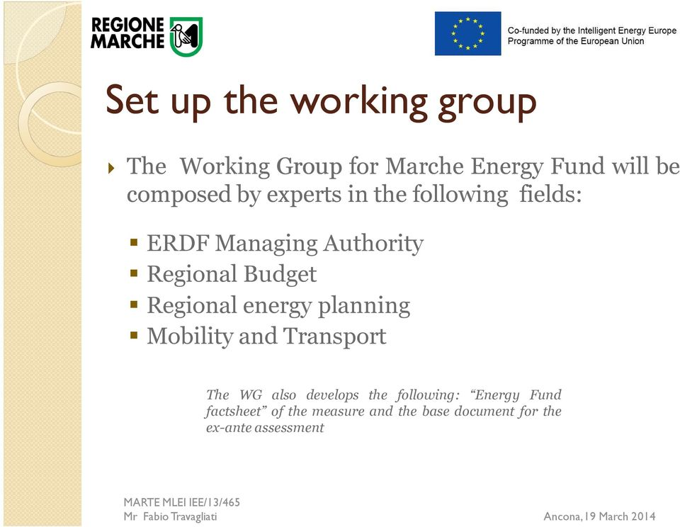 Budget Regional energy planning Mobility and Transport The WG also develops the