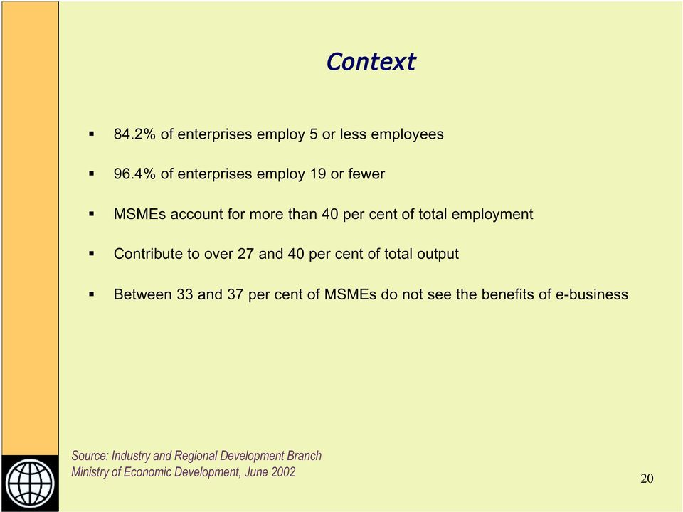 employment Contribute to over 27 and 40 per cent of total output Between 33 and 37 per cent of