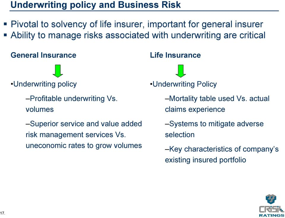 volumes Superior service and value added risk management services Vs.