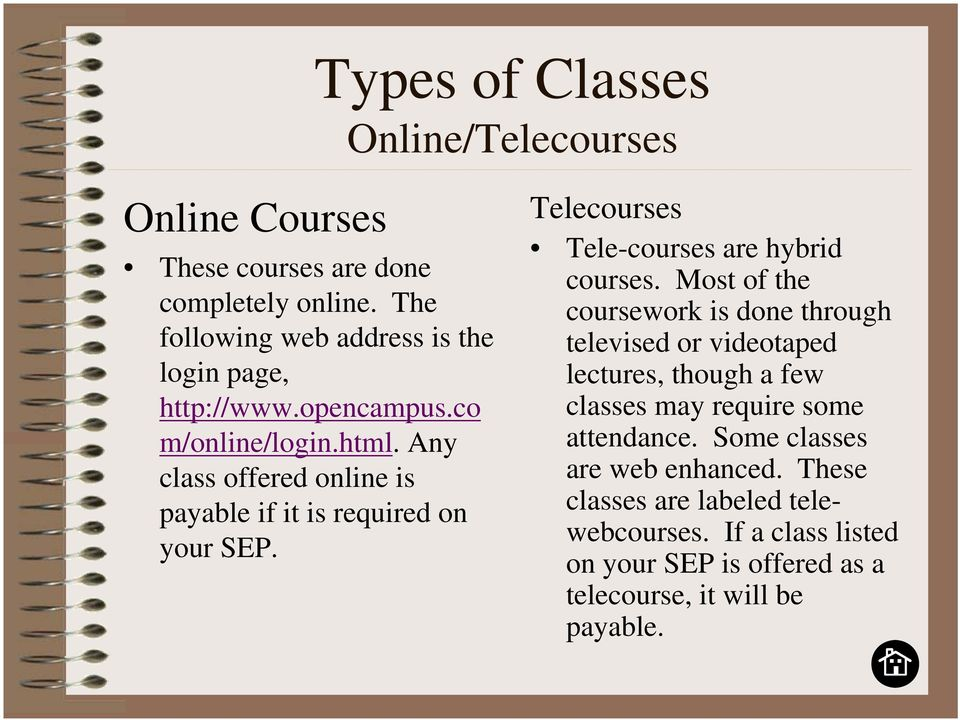 Any class offered online is payable if it is required on your SEP. Telecourses Tele-courses are hybrid courses.