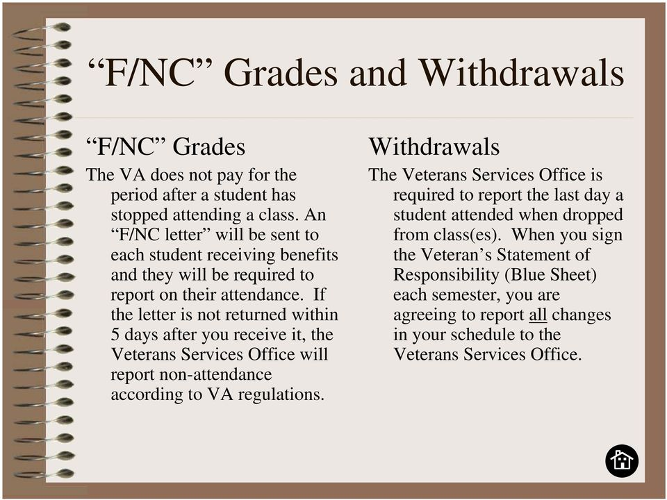 If the letter is not returned within 5 days after you receive it, the Veterans Services Office will report non-attendance according to VA regulations.
