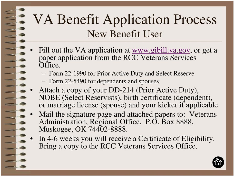 Reservists), birth certificate (dependent), or marriage license (spouse) and your kicker if applicable.