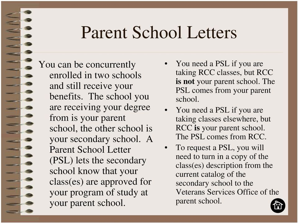A Parent School Letter (PSL) lets the secondary school know that your class(es) are approved for your program of study at your parent school.