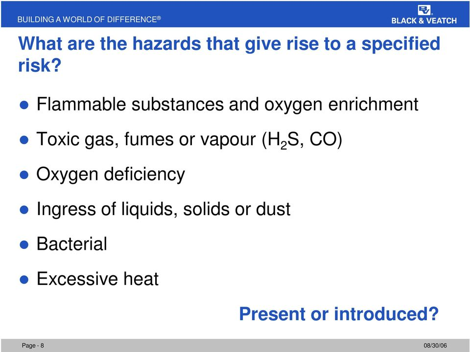 or vapour (H 2 S, CO) Oxygen deficiency Ingress of liquids,