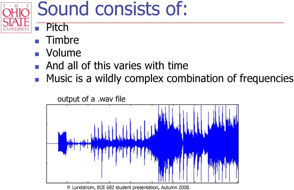 combination of frequencies output of a.wav file P.