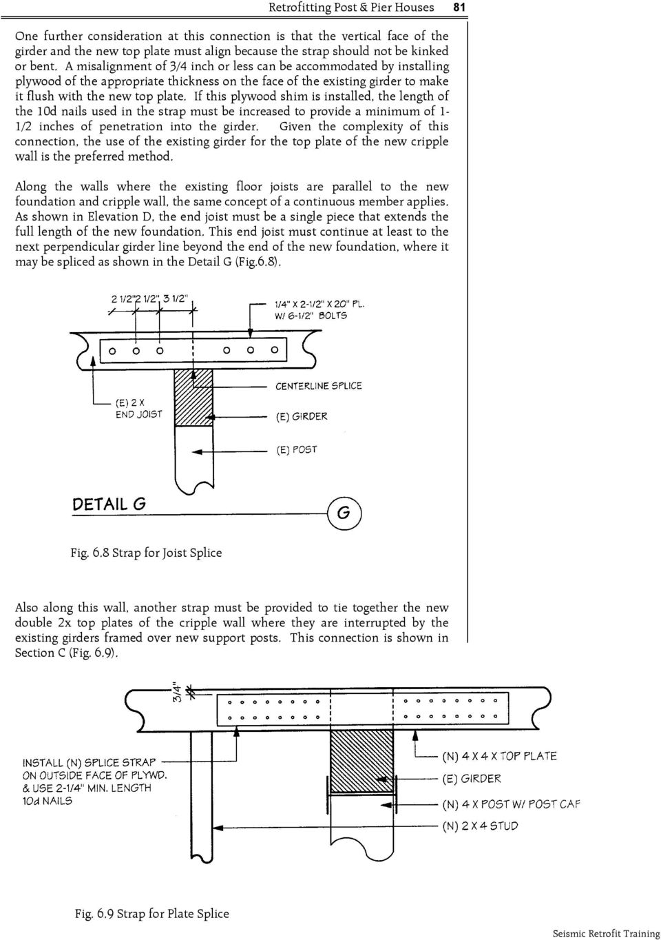 If this plywood shim is installed, the length of the 10d nails used in the strap must be increased to provide a minimum of 1-1/2 inches of penetration into the girder.