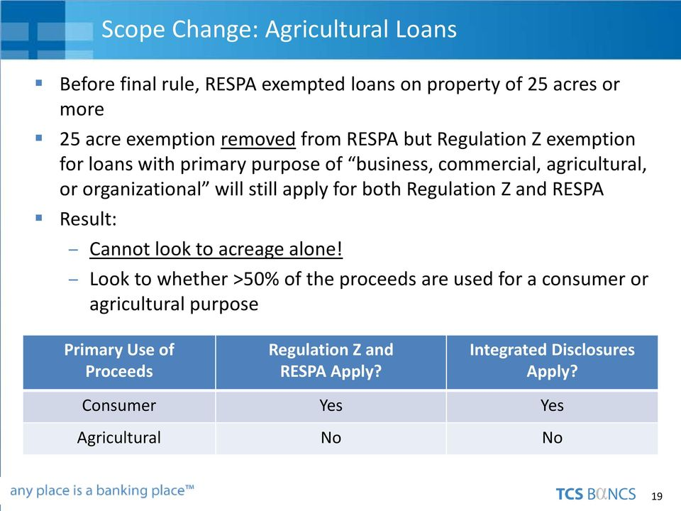 for both Regulation Z and RESPA Result: Cannot look to acreage alone!