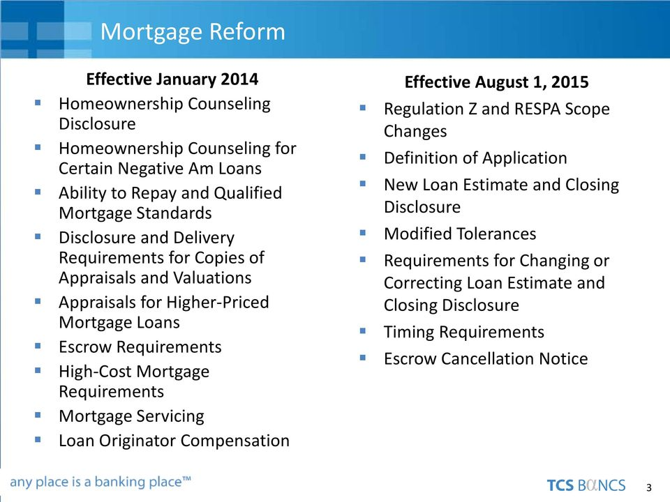 High-Cost Mortgage Requirements Mortgage Servicing Loan Originator Compensation Effective August 1, 2015 Regulation Z and RESPA Scope Changes Definition of Application