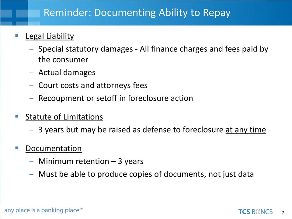foreclosure action Statute of Limitations 3 years but may be raised as defense to foreclosure at any