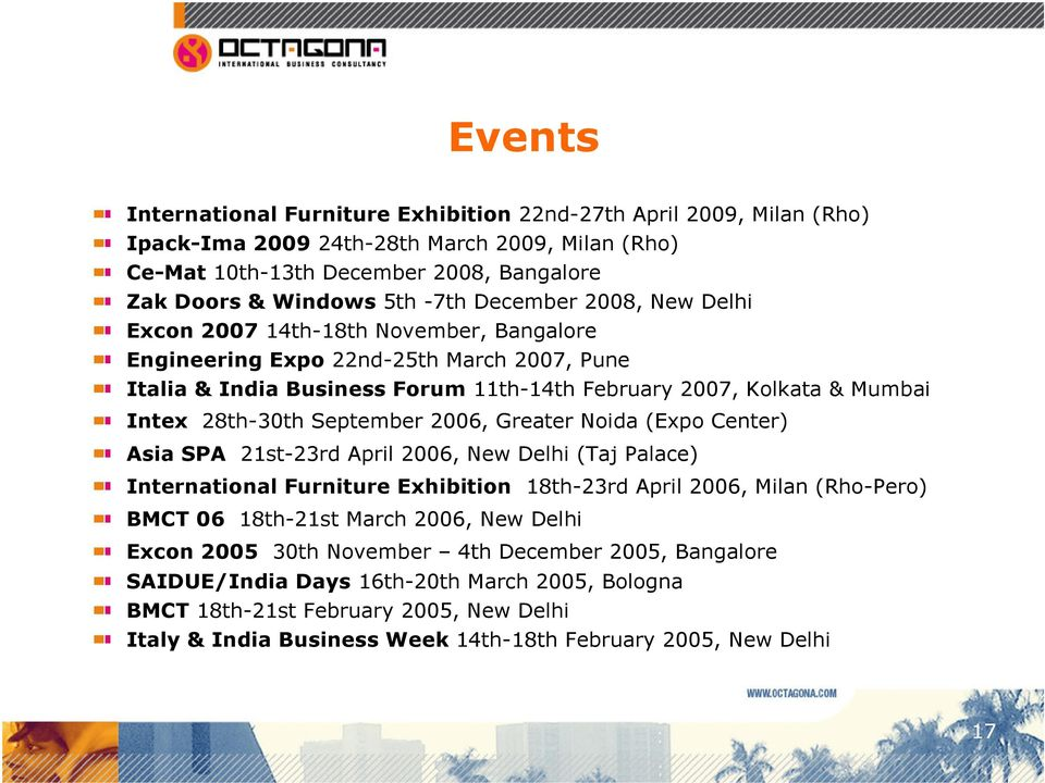September 2006, Greater Noida (Expo Center) Asia SPA 21st-23rd April 2006, New Delhi (Taj Palace) International Furniture Exhibition 18th-23rd April 2006, Milan (Rho-Pero) BMCT 06 18th-21st March