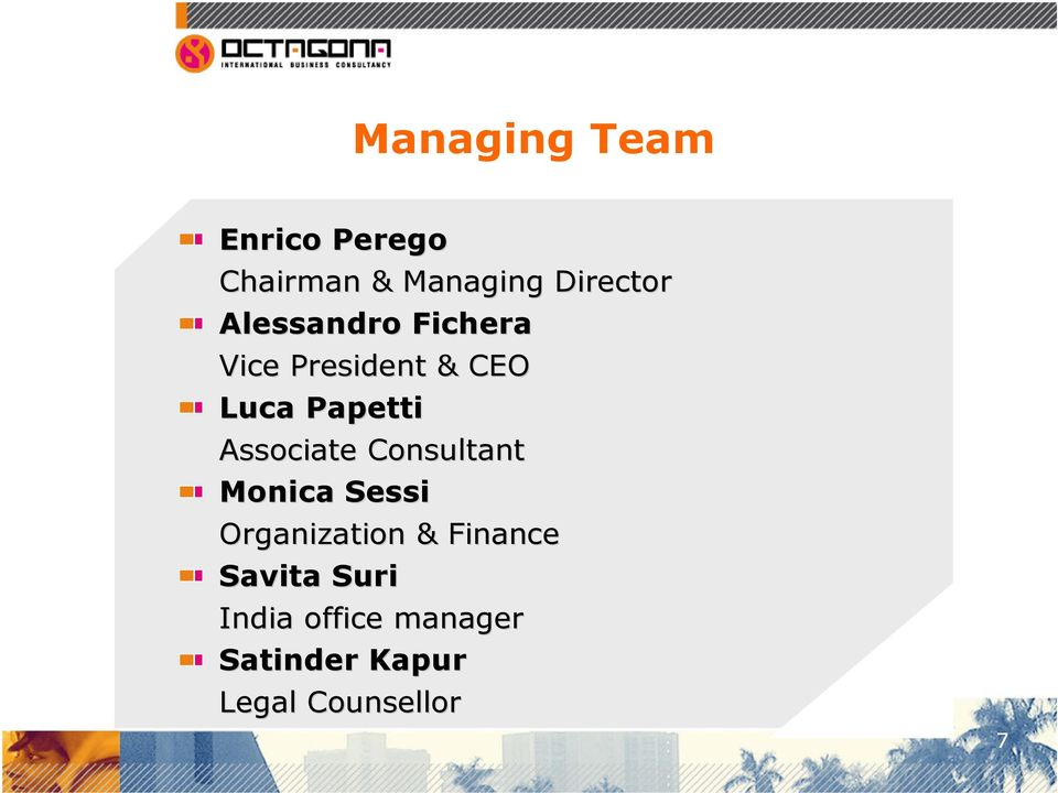 Associate Consultant Monica Sessi Organization & Finance