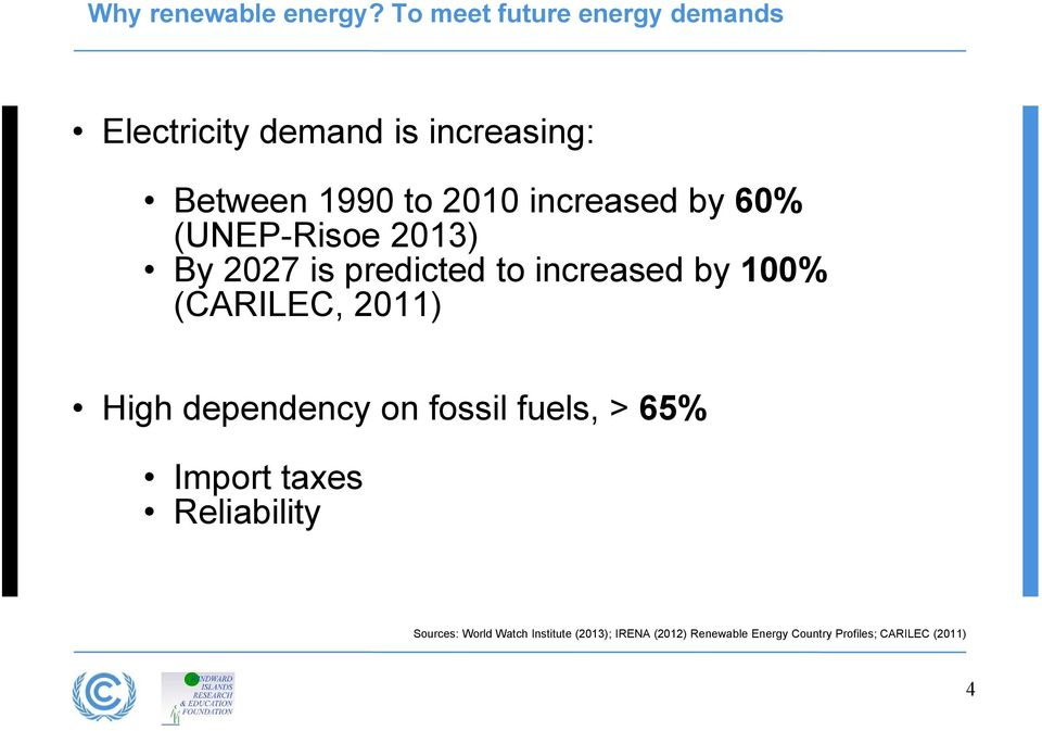 increased by 60% (UNEP-Risoe 2013) By 2027 is predicted to increased by 100% (CARILEC,