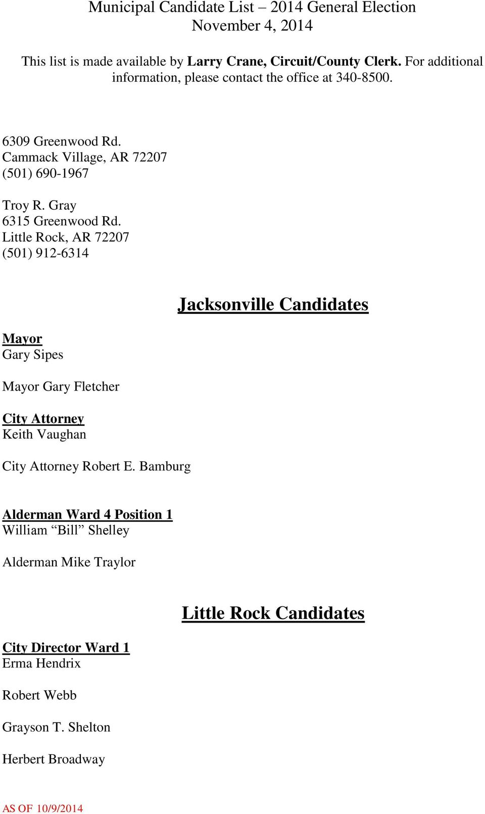 Bamburg Jacksonville Candidates Alderman Ward 4 Position 1 William Bill Shelley Alderman