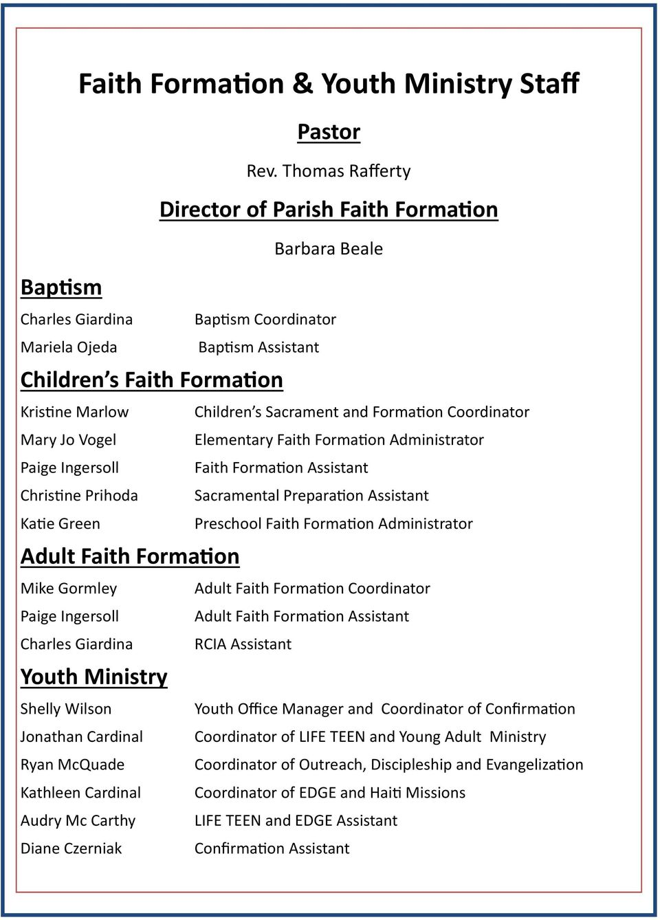 Formation Administrator Paige Ingersoll Faith Formation Assistant Christine Prihoda Sacramental Preparation Assistant Katie Green Preschool Faith Formation Administrator Adult Faith Formation Mike
