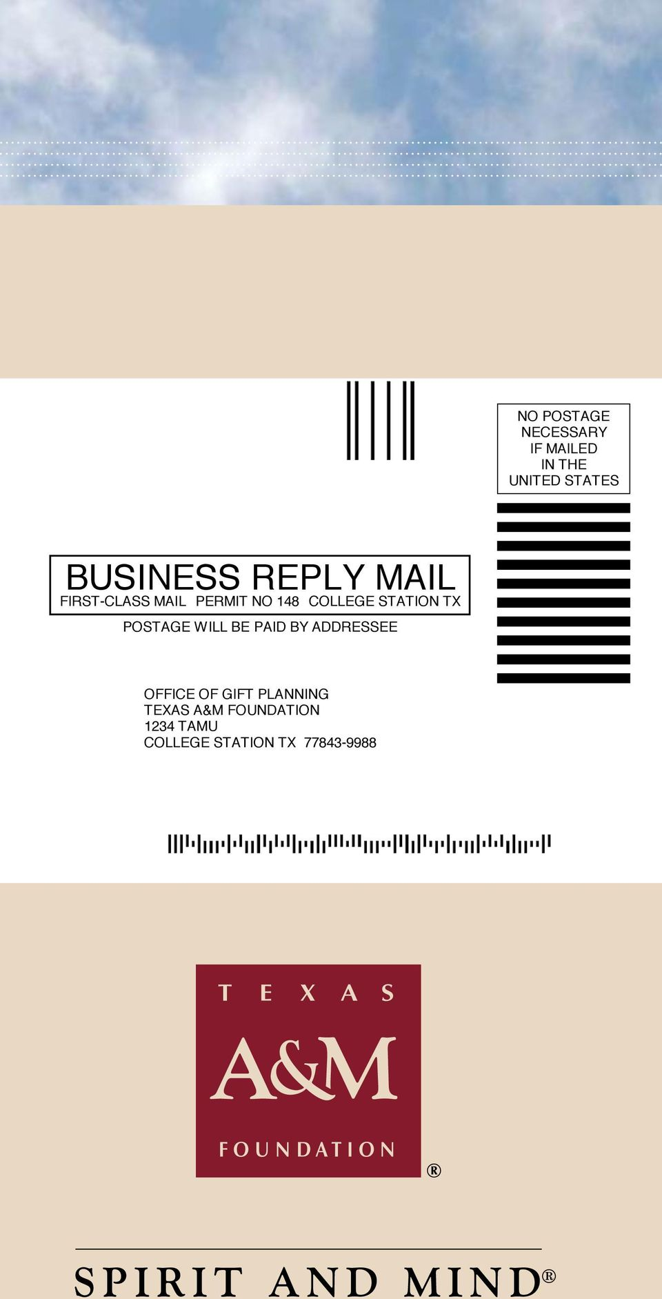 POSTAGE WILL BE PAID BY ADDRESSEE OFFICE OF GIFT PLANNING TEXAS