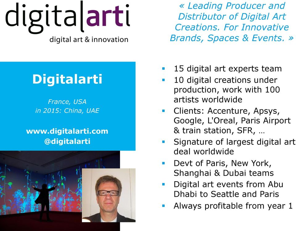 com @digitalarti 15 digital art experts team 10 digital creations under production, work with 100 artists worldwide Clients: