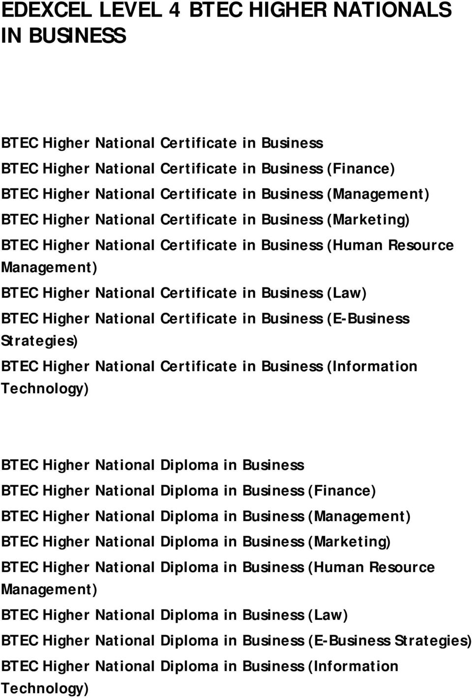 Higher National Certificate in Business (E-Business Strategies) BTEC Higher National Certificate in Business (Information Technology) BTEC Higher National Diploma in Business BTEC Higher National