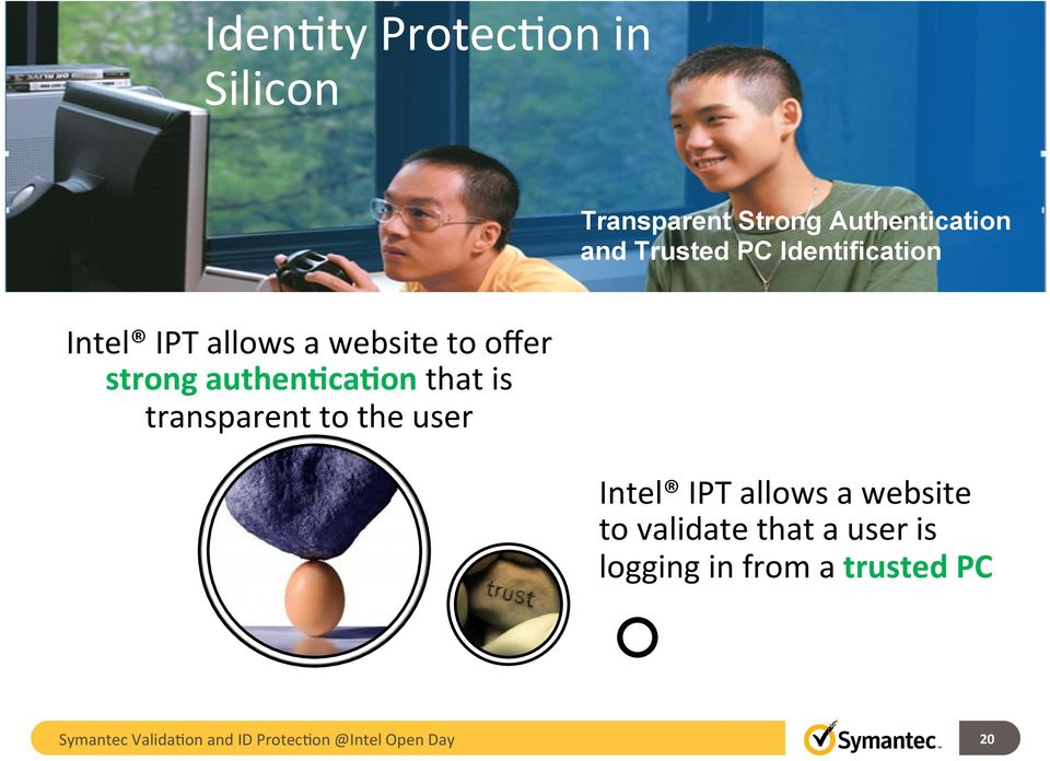 Identification Intel IPT allows a website to offer strong