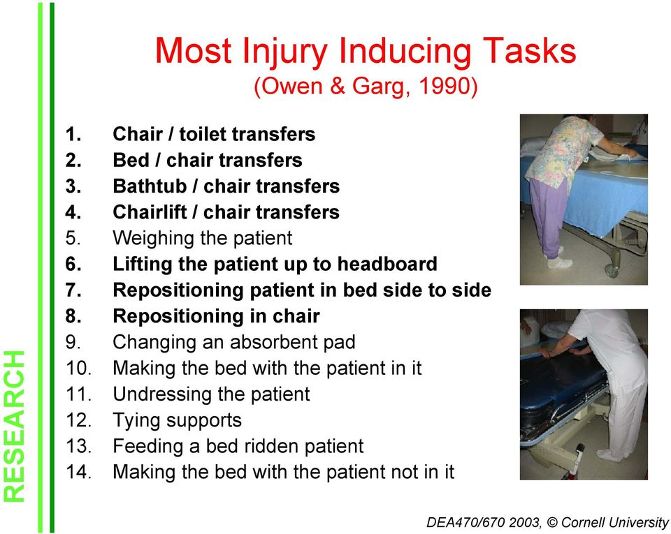 Repositioning patient in bed side to side 8. Repositioning in chair 9. Changing an absorbent pad 10.