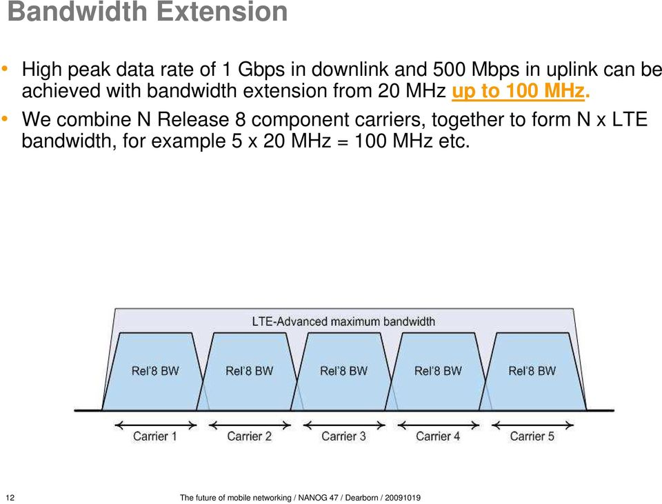 We combine N Release 8 component carriers, together to form N x LTE bandwidth, for