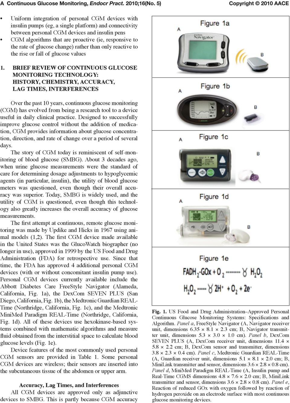 BRIEF REVIEW OF CONTINUOUS GLUCOSE MONITORING TECHNOLOGY: HISTORY, CHEMISTRY, ACCURACY, LAG TIMES, INTERFERENCES Over the past 10 years, continuous glucose monitoring (CGM) has evolved from being a