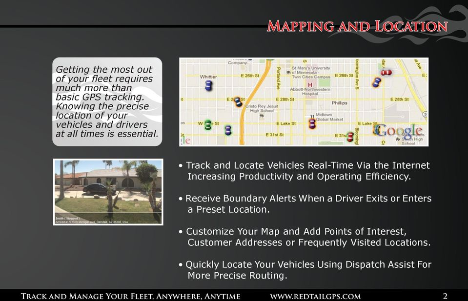 Track and Locate Vehicles Real-Time Via the Internet Increasing Productivity and Operating Efficiency.