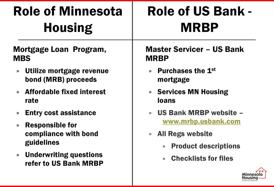 questions refer to US Bank MRBP Role of US Bank - MRBP Master Servicer US Bank MRBP» Purchases the 1 st mortgage»