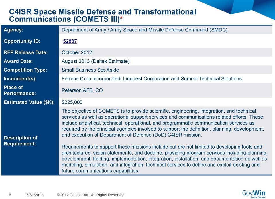 Technical Solutions Peterson AFB, CO Estimated Value ($K): $225,000 Description of Requirement: The objective of COMETS is to provide scientific, engineering, integration, and technical services as